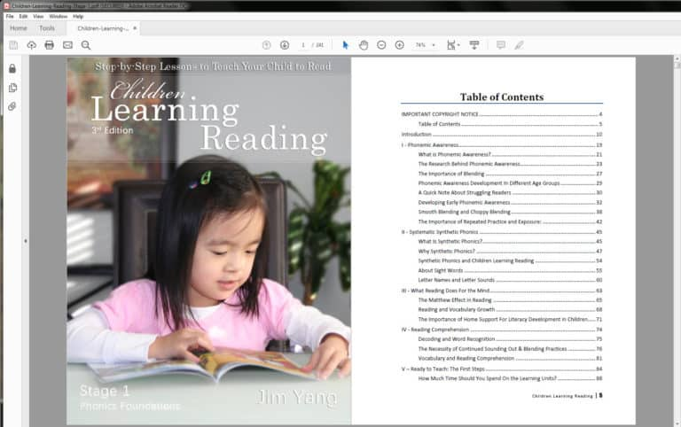Children Learning Reading - Table of Contents