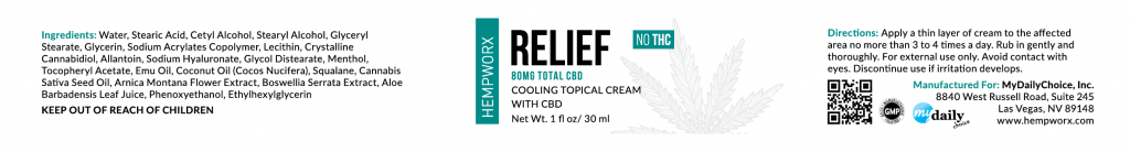 Hempworx relief cream label