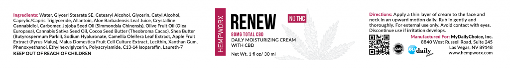 Hempworx renew cream label