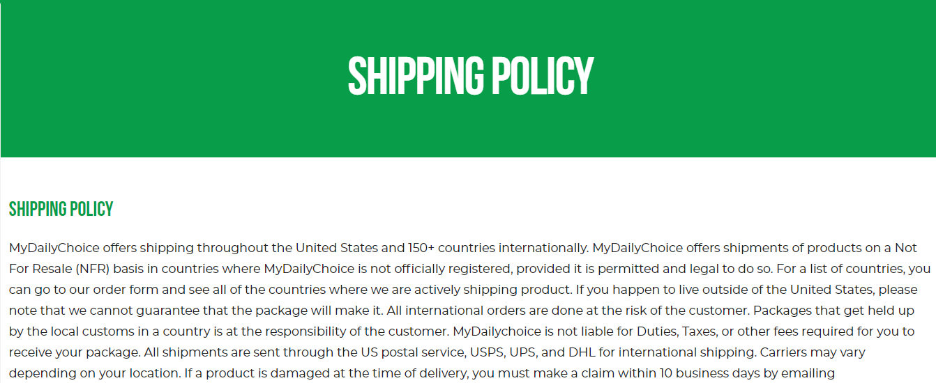 Hempworx shipping policy