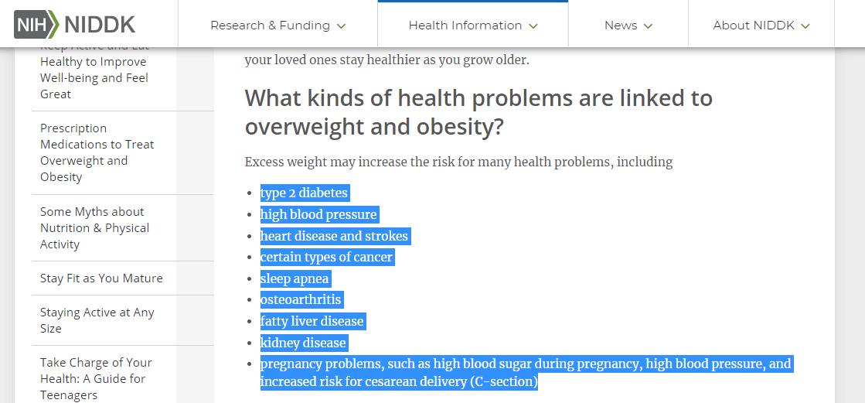 Obesity dangers