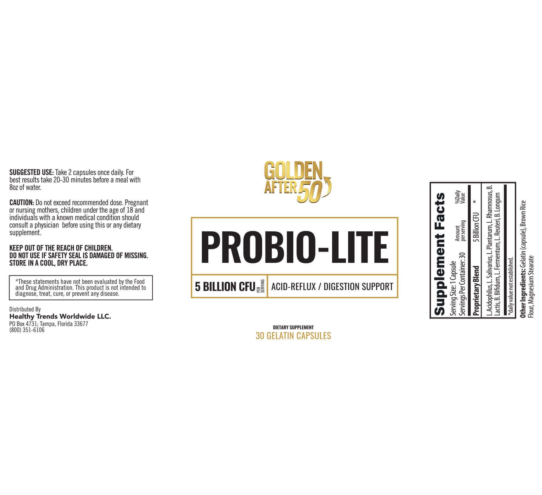 ProbioLite label of ingredients